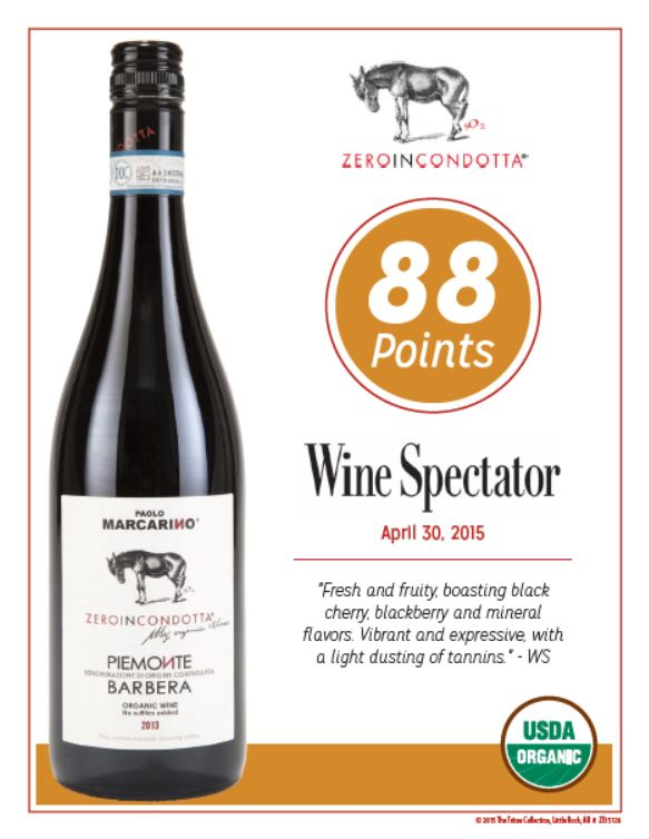 Zeroincondotta Barbera 2013 Awarded 88 Pts from Wine Spectator!